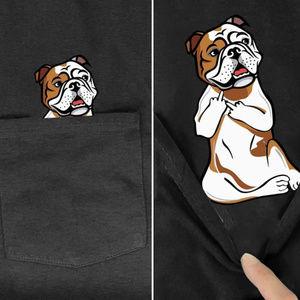 Funny English Bulldog Middle Finger Pocket Tee Dog